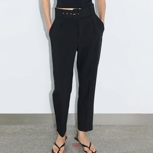 Black high waisted front pleat pants with belt